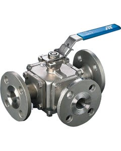 A-T Controls Series 33 Three-Way Flanged Direct Mount MultiPort Ball Valves
