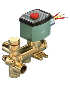 ASCO Valve 8300 Three-Way General Service Solenoid Valves, Shown with Brass Body
