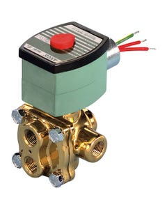 ASCO Valve 8342 Four-Way General Service Solenoid Valve, Brass Body, Single Solenoid Construction
