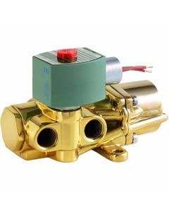 ASCO Valve 8344 Four-Way Piston Poppet Solenoid Valves, Brass Body, Single Solenoid