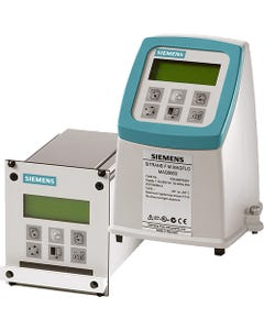 Siemens SITRANS FM MAG5000 Transmitter for Electromagnetic Flow Sensors.  (L) NEMA 1/IP20 rack mount, (r) NEMA 4X/6/IP67 field mount with digital display